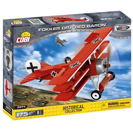 Cobi 2974 Great War Fokker Dr. 1 RED BARON, 175 k, 1 f