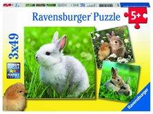 Puzzle Ravensburger Roztomilý králíček 3x49 dílků
