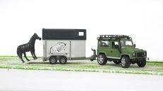 Bruder 2592 Land Rover+vozík na prevoz koňa